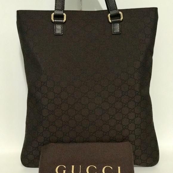Gucci Handbags - Authentic Gucci Brown Denim GG Guccissima Tote Sac 4386a02b19fce